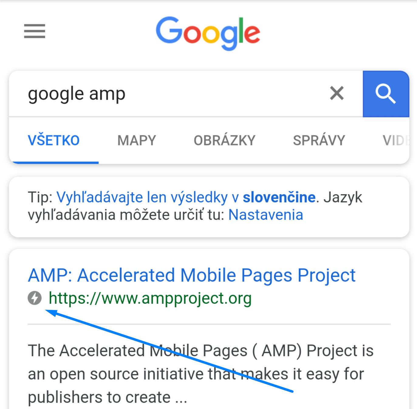 Ako rozoznať AMP od Google na mobile
