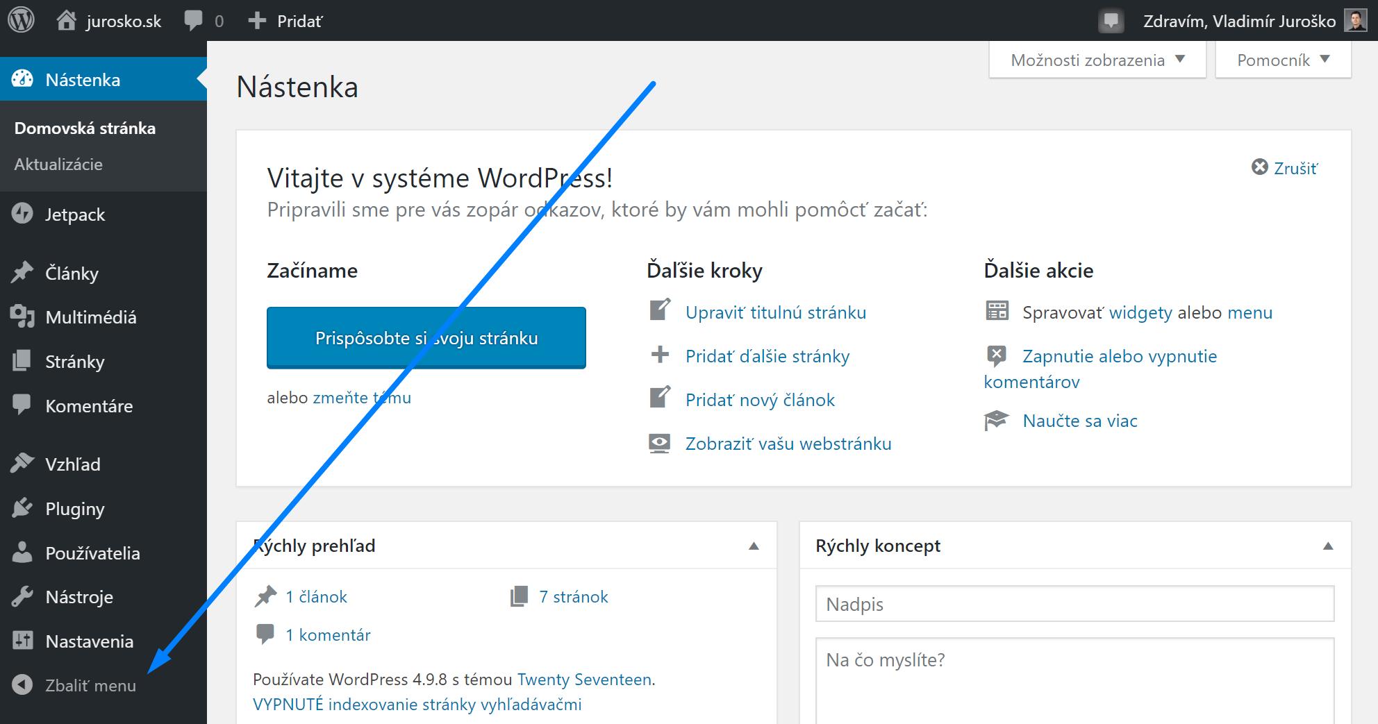 Wordpress zbaliť menu